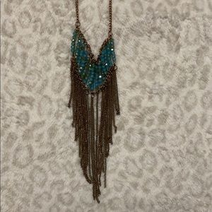 long bronze and teal necklace